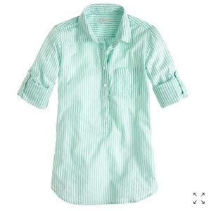 J Crew Camp Popover Tunic Striped Green White 2